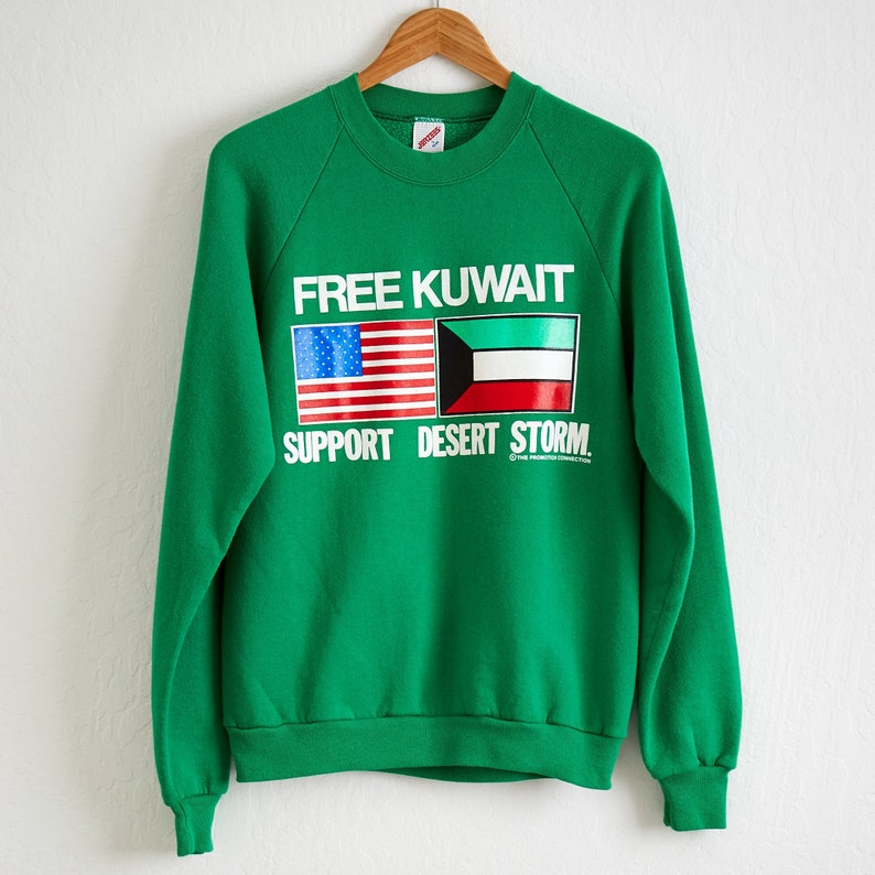 info for 66802 a66ac VTG 1991 Free Kuwait Desert Storm Sweatshirt Sz. L Large Crewneck Pullover  Iraq Persian Gulf War American Flag Support Our Troops Patriots