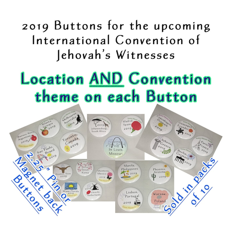 Location w/Love Never Fails, JW 2019 International Convention Gifts - Pin  or Magnet backs - Pack of Buttons - English