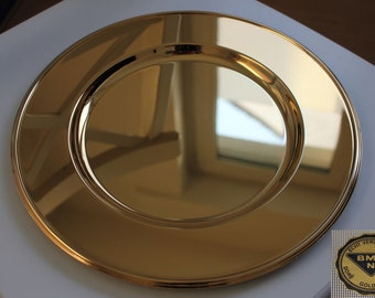 Display Plate, Gold Plated, Vintage, 1970s, 1960s / Gold Decor