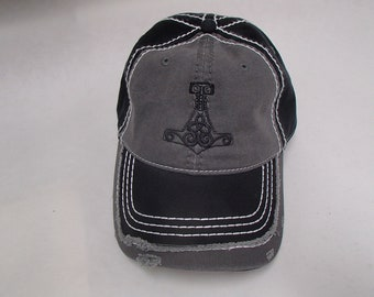 8fe20d09bd6b4 Embroidered Baseball Cap Hat with Thor s hammer  CP43 Black or Black   Grey