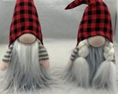 Buffalo Plaid Hat Couple Santa Gnome Elf Tomte Nisse Tonttu 13 quot tall