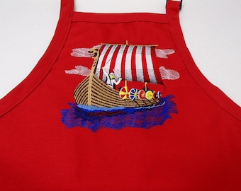 865ec7139a4 Embroidered Danish Viking Ship on Navy