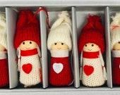 Nordic Santa Elf Gnome Tomte Nisse Box of 5 Ornaments