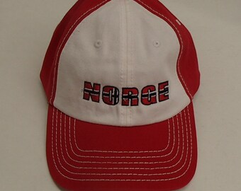 1c60e56315e3c Scandinavian Embroidered Baseball Cap Hat Norwegian Norge or Sverige  Swedish Crowns