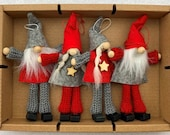 Nordic Scandinavian Santa Elf Gnome Tomte Nisse Box of 4 Ornaments