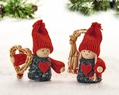 Scandinavian Nordic Decorations Santa Elf Gnome Couple Boy with Straw Heart Girl with Straw Goat