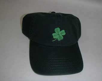 Embroidered Green Baseball Cap Hat with Irish Shamrock #CP51GRN