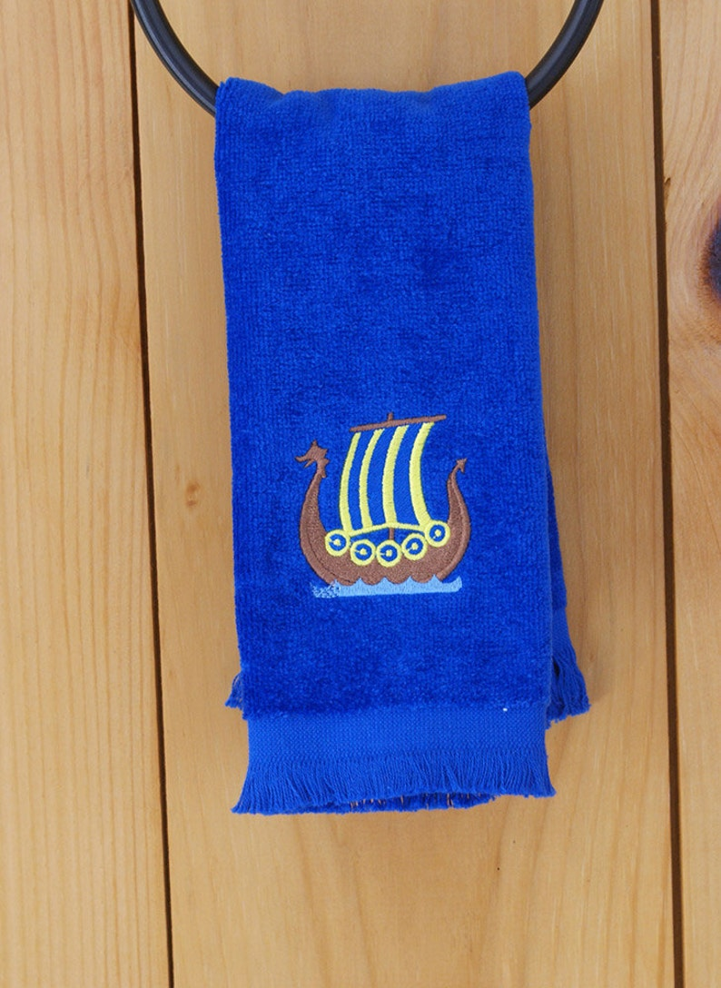 1189c17f765 Scandinavian Swedish Viking Ship Embroidered Towel 39