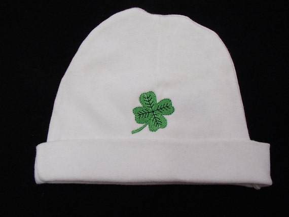 34f06805a63 Embroidered White Cotton Infant Hat with Shamrock or Viking
