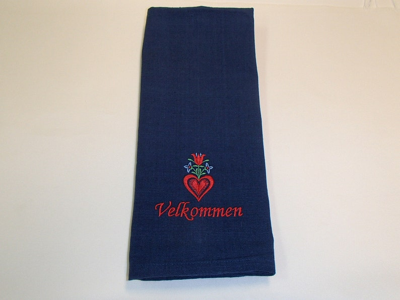 5b2f8ae5d7e TWO Embroidered Navy Blue Cotton Dish Towels Swedish Norwegian