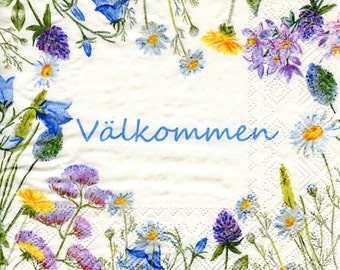 Swedish Valkommen Flowers Wreath Bird Luncheon Napkins - Two packages of 20