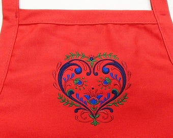 Embroidered Scandinavian Folk Art Country Heart  Apron
