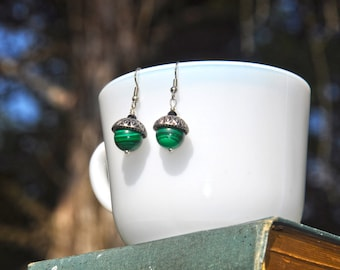 Green Malachite Acorn Silver Earrings