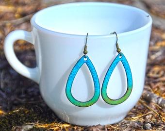 Enameled Robin's Egg Blue Earrings