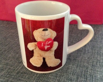 Love Cup for Lovers, love heart, bear, red and white, funny picture with text, special present, love present, for you