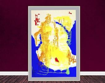 Land Phantasia Map, Abstract Art, Printable Poster Art, Acrylic Abstract Art, digital print, modern art, digital print
