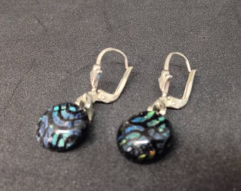 Turquoise blue and black shining earhangers, sterling silver, dichroic glass, very fashion colour, bullseye glass