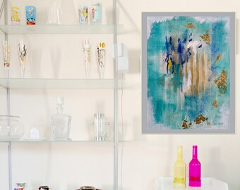 Turquoise Summer 1, Abstract Art, Printable Poster Art, Downloadfile, trendy, digital print, modern art, colourful art, digital print