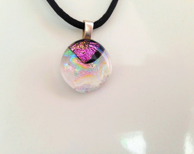 Unique gold blue and purple shining dichroic glass pendant, including a black satin necklace, sterling silver bail