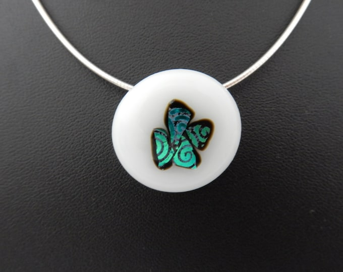Lovely white, blue/green shining dichroic glass pendant