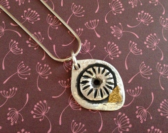 Silver necklace with pendant, fine silver with patina, lovely shape, finegold, beautiful structure, Pilbri Jewelry Design