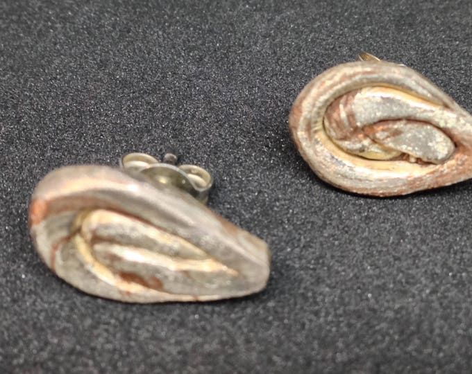 Earstuds  silver and bronze mokume gane , sterling silver posts,  modern with a fashion shape, handmade with love, single item