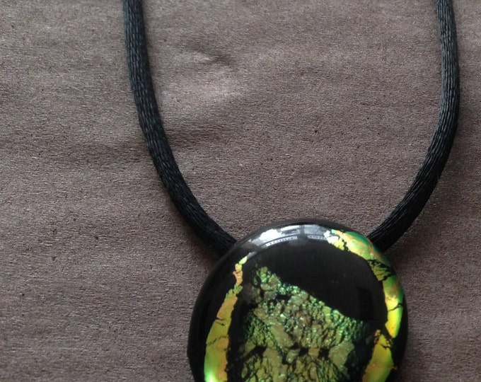 Unique gold brown black shining dichroic glass pendant, including a black satin necklace
