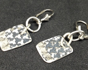 Earhangers silver and black shining, sterling silver, black patina, very fashion colour, with sterling silver