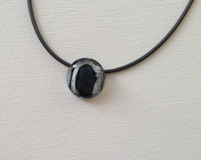 Glass Mini Necklace with sterling silver and dichroic glass, unique dichroic Pilbri Design, black and white