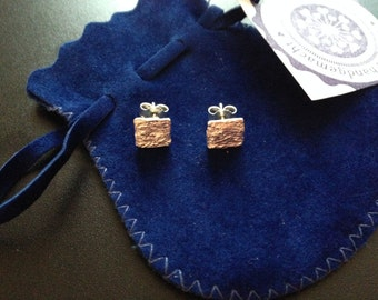 Fancy very pretty handcrafted studs 925 sterling silver, square shape, soft structure