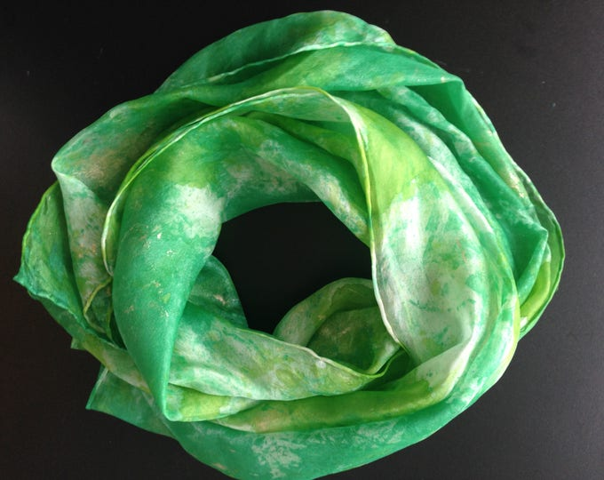 Unique silk scarf 100% silk, fresh green colour, soft material, wearable art, handcrafted, unique, fashion, modern style