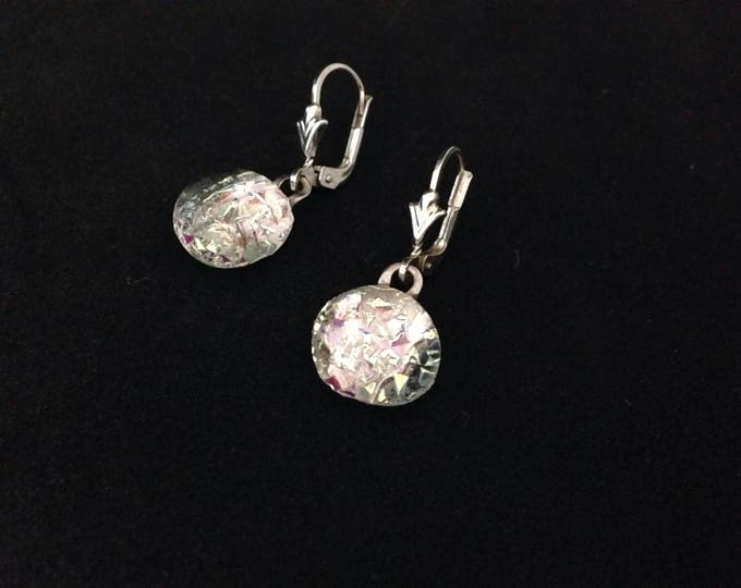 Earhangers silver and crystal shining, sterling silver, very fashion , with sterling silver closure