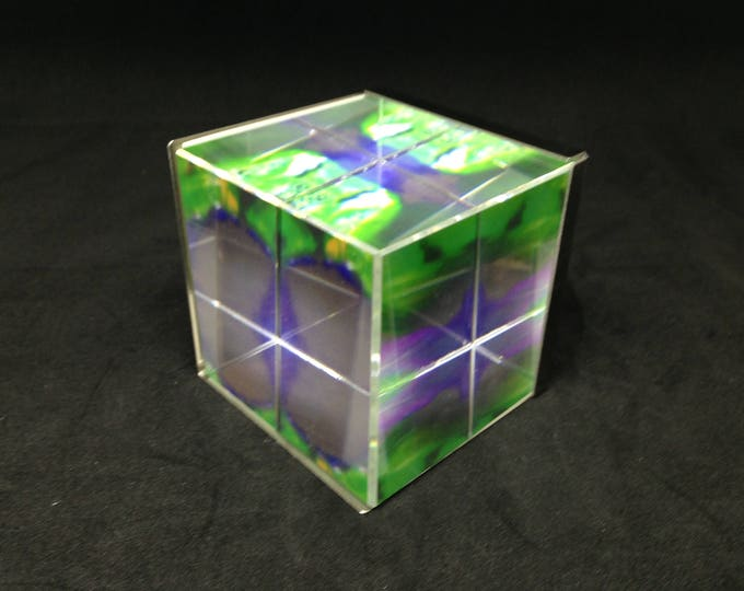 Pilbri ® Art cube with an original Pilbri photo art work, stainless steel, can be used as decoration or as paperweight