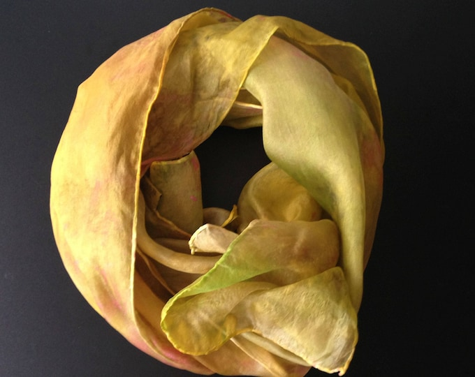 Unique silk scarf 100%, yellow silk, beautiful silk, unique label, fashion colour, beautiful present, handmade