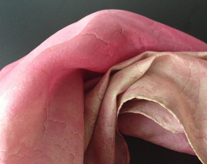 Unique silk scarf 100%, fine soft quality, fashion and wearable art, for every purpose, unique,  scarf pink colour