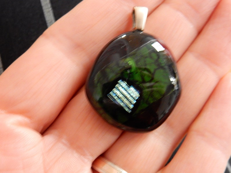 Glasanh\u00e4nger sterling silver bail with beautiful dichroic glass Glass pendant lovely green colour