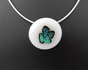 Lovely white, blue/green shining dichroic glass pendant