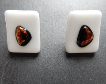 Precious diachroic glass earrings