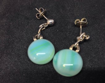 Turquoise earhanger, sterling Silver, Glassfusing, eyecatcher, unique jewelry, made with love, silver studs
