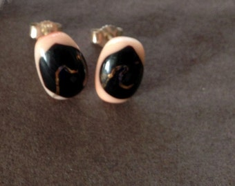 Lovely  salmon, brown and gold shining dichroic glass earrings, sterling silver posts, elegant studs