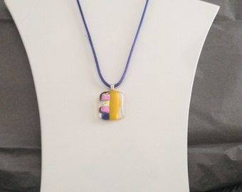 Unique gold blue yellow and purple shining dichroic glass pendant, including a blue satin necklace