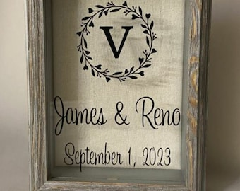 """Sand Ceremony rustic Barn Wood Box / Frame, Sand incl., Blended Family, Décor, Bat-Bar Mitzvah, LGBTQ, Gift, Engagement, Anniversary, 5""""x 7"""""""