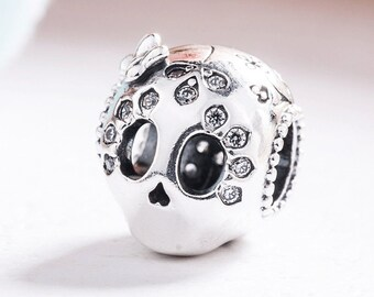 524cf5695 Sparkling Skull charm 1 Bead fits Authentic Pandora Charm Bracelet Jewelry,  Sterling Silver Charm Bead