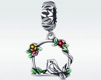 8d70666f0 A singing bird sits on a branch Charm Bead Fit Authentic Pandora Charm  Bracelet Pendant Jewelry DIY, Sterling Silver Charm Bead