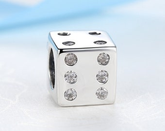20b32709c 100% Sterling Silver Charm Lucky Dice Charm 1 Bead fits Authentic Pandora  Bracelet Jewelry DIY, Beads SALE!