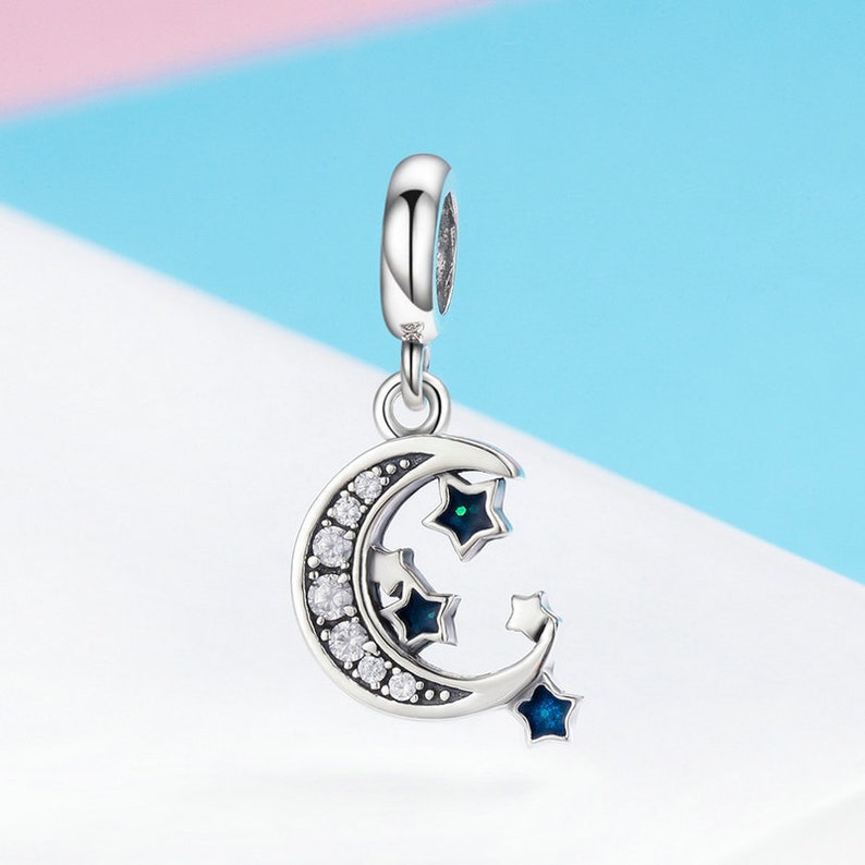 e293a2db0c309 Sparkling Sky Moon & Star Clear CZ Dangle Charm Bead Fit Authentic Pandora  Charm Bracelet Pendant Jewelry DIY, Sterling Silver Charm