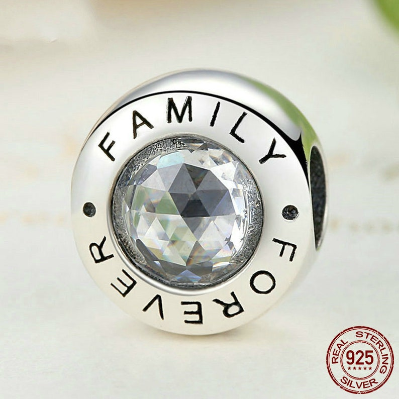 626e59fc1 Family Forever Clear CZ 1 Charm Bead For Authentic Pandora | Etsy