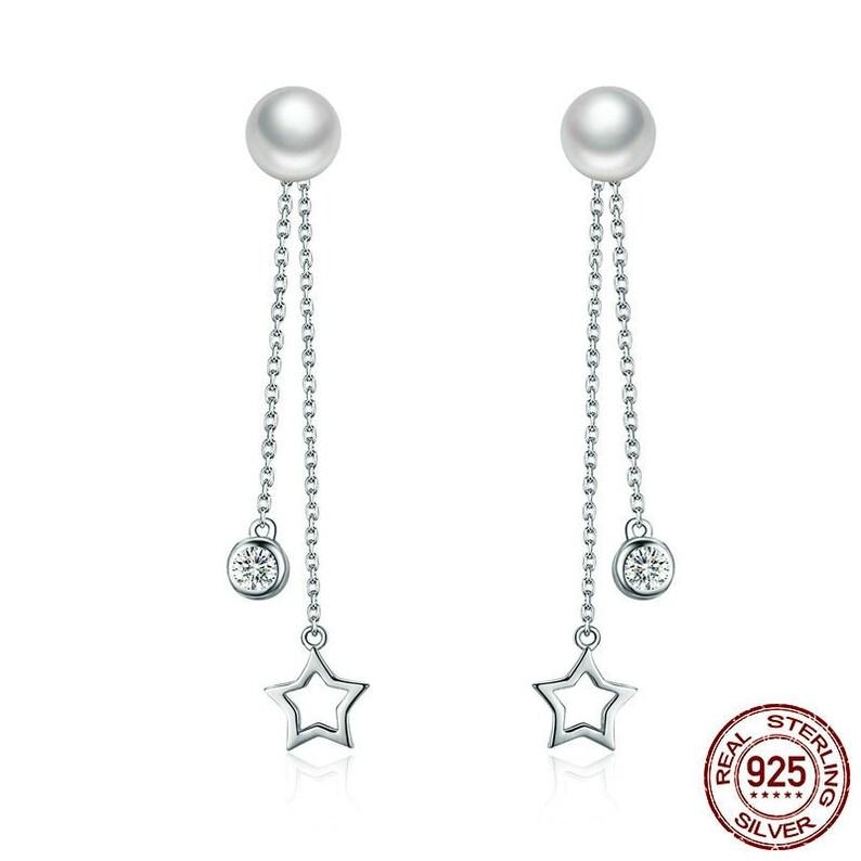 Jewelry Earrings gift for hermomgirlgirlfriend 925 solid Sterling Silver 1 pair Twinkle Star Imitation Pearl Long Drop Earrings