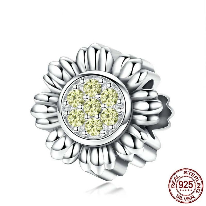 94f373351 Sunflower Flower Dazzling CZ Charm Fits Authentic Pandora | Etsy