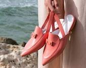 Coral Leather Loafers, Women Handmade Shoes, Slingback Flat Shoes, Pointy Toe Mules, Slip On Style, Women Slides
